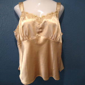 Gold satin Cami with sequins Plus 20